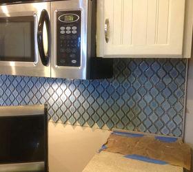 Arabesque Blue Tile Backsplash Using An Adhesive Mat Hometalk