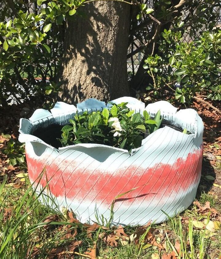 tire turned planter