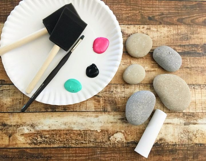 painted rock outdoor tic tac toe set