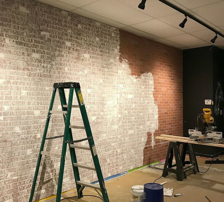 Faux Brick Wall Using Inexpensive