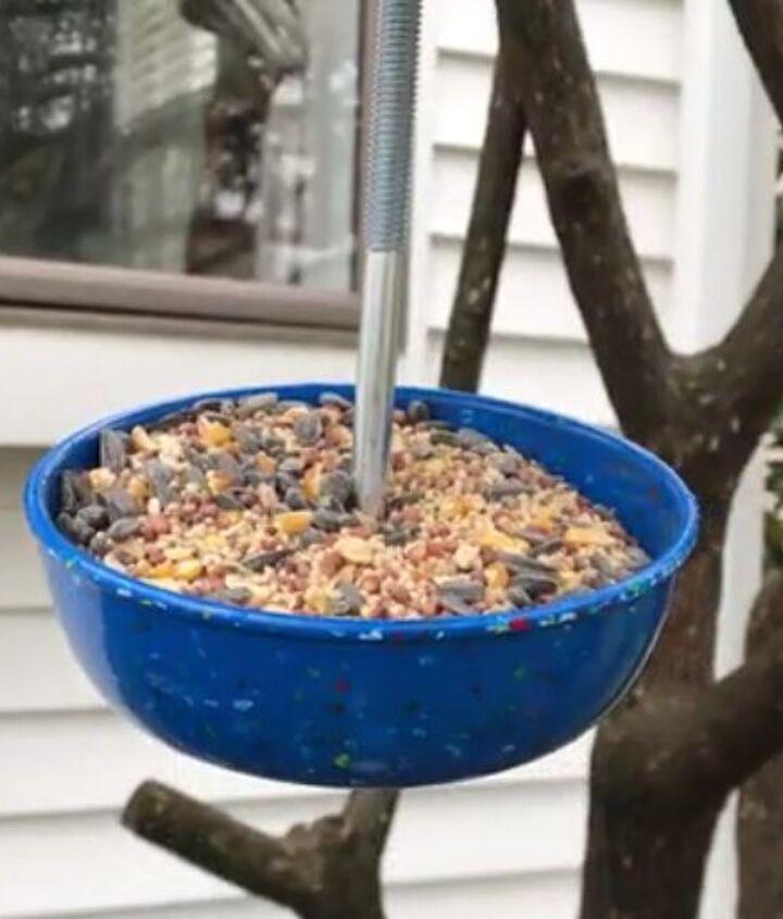 fun bird feeder from dishware