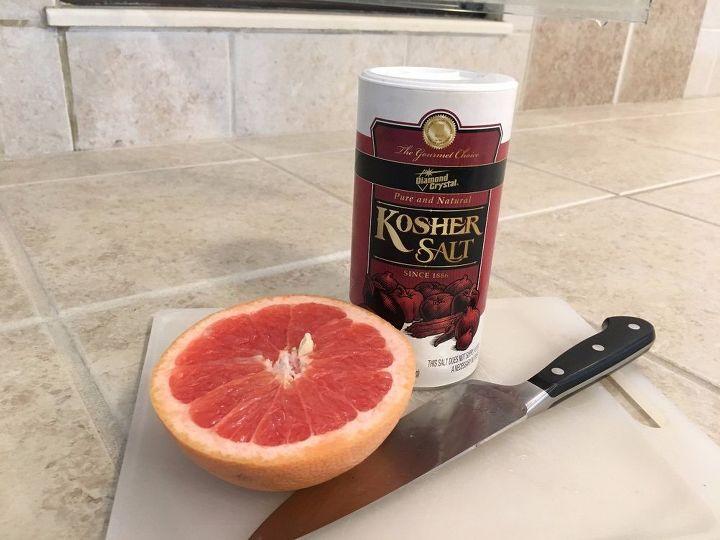 remove soap scum with a grapefruit and kosher salt