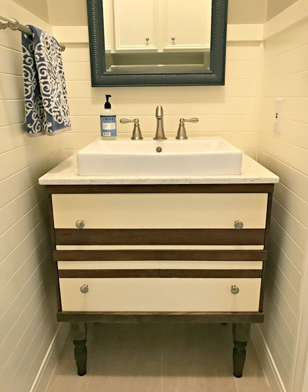 remodel 1 dresser into 2 pieces toy storage and a bathroom vanity