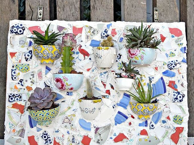 upcycle your old bowls and plates into a stunning wall planter