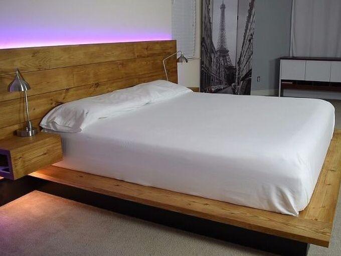 diy platform bed with floating night stands