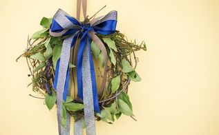 diy grapevine and laurel door wreath