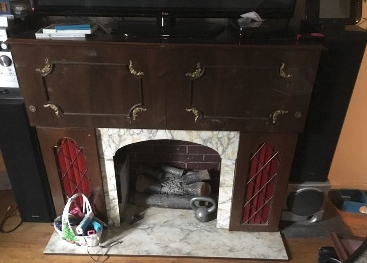 q ugly fake fireplace