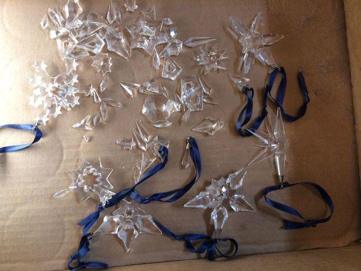 q broken swarovski crystal snowflakes