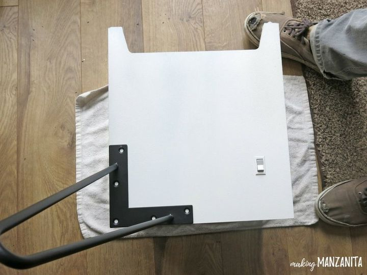 how to hide router cords with a mid century side table