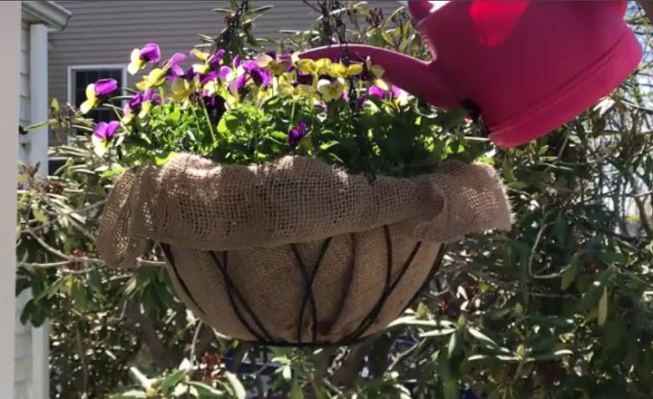 tired of leaky coconut liners try this hanging planter hack