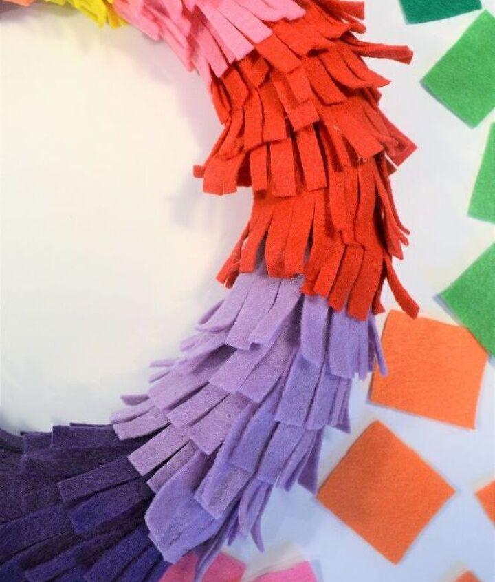 rainbow fringe wreath