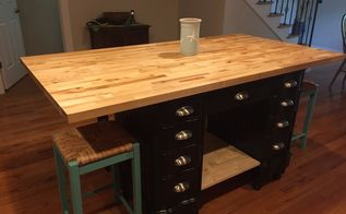 antique desk turned into kitchen island