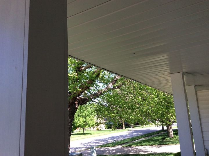 q how can i hang ferns from this hollow porch ceiling