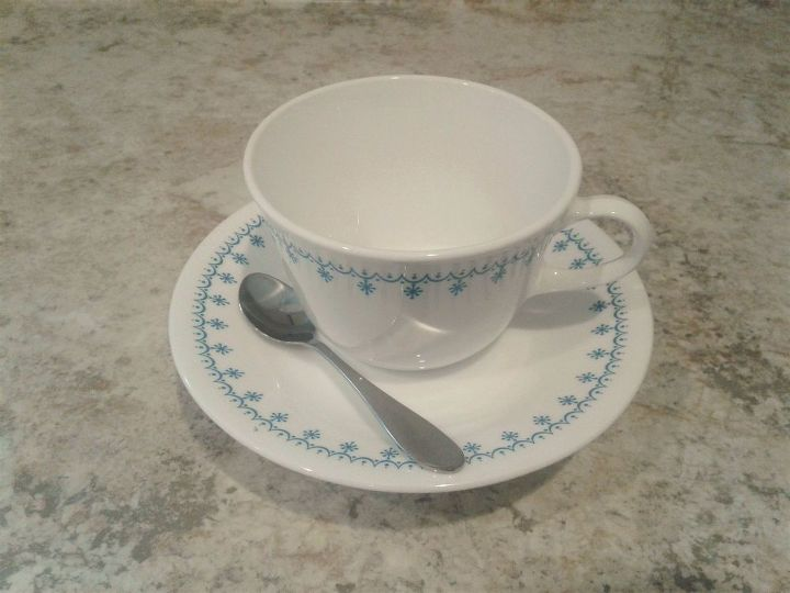 thrift store tea cup and saucer free standing bird feeders