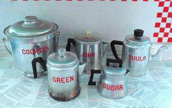 vintage repurposed coffee pots