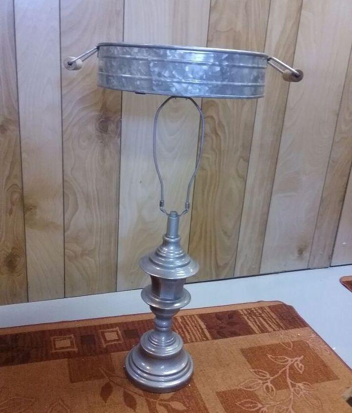 lamp base turned birdbath