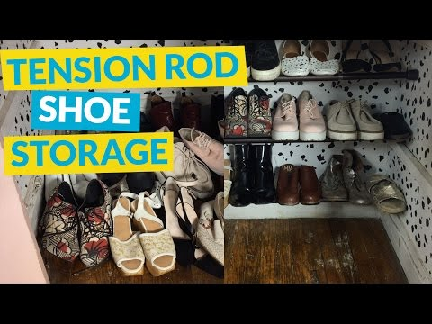 s 10 nifty ways to get your heels in order, Extend Tension Rods For Your Small Space