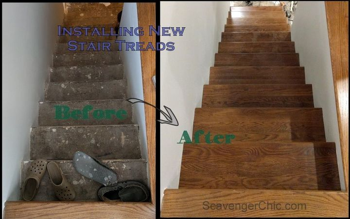 weekend project installing new stair treads