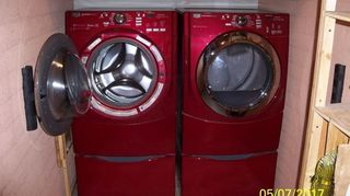 , Here is the finished laundry room with the washer door open The bumpers are just right for what I wanted