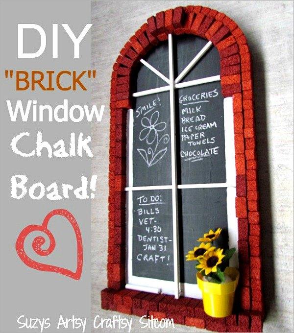diy brick window chalkboard