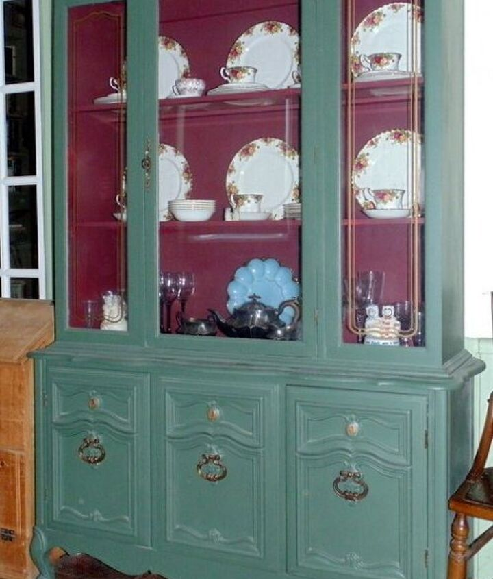 fun and happy china cabinet makeover