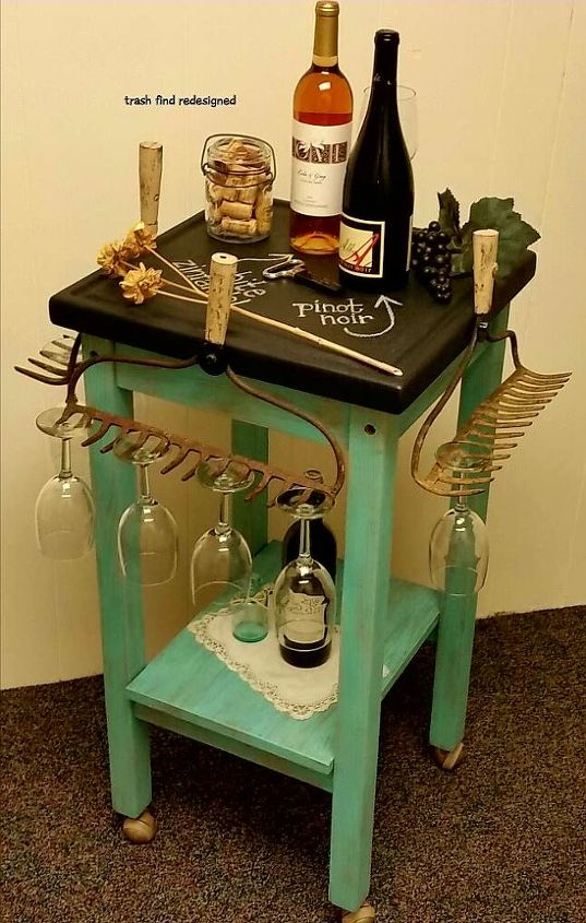 Wine Cart with Chalkboard Top