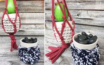diy t shirt yarn macrame plant holder
