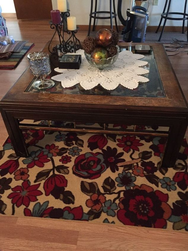 q need an easy and inexpensive way to redo this old coffee table help