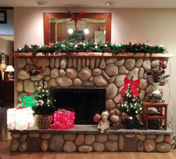 e our river rock fireplace and live edge mantel