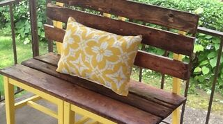 , She picked a dark cherry stain with a steelers yellow for the chairs