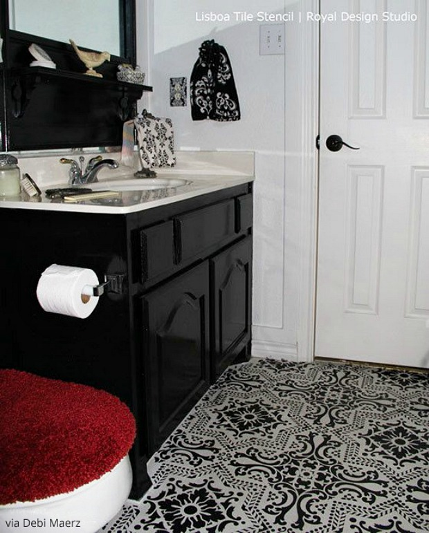 yes you can paint vinyl linoleum floor with stencils