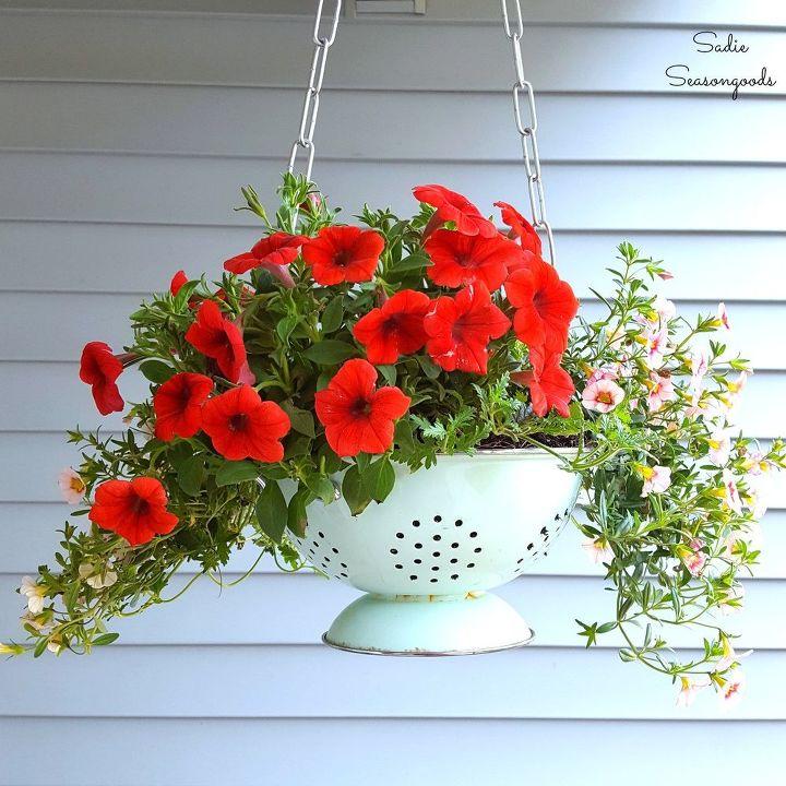vintage enamel colander hanging planter
