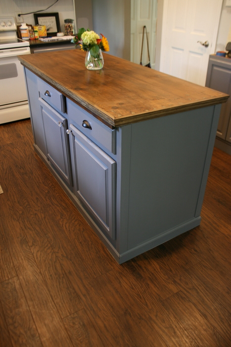 Upcycled Kitchen Island With a Reclaimed Wood Top | Hometalk