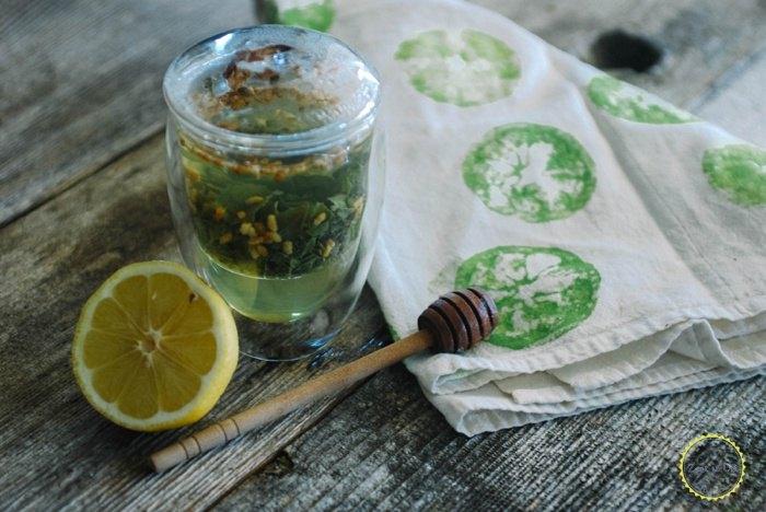 lemon stamped tea towel