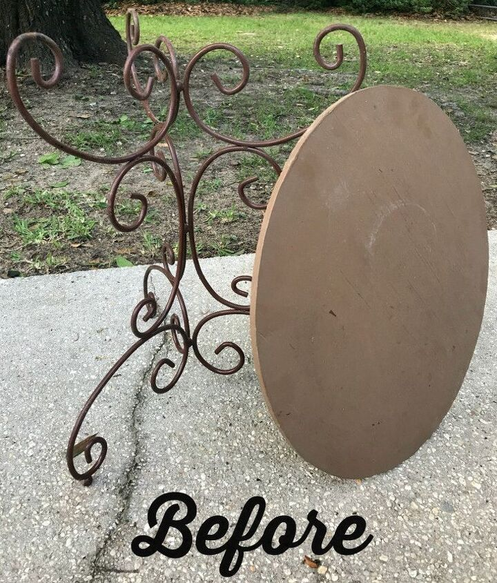 ugly bistro table into french country beauty