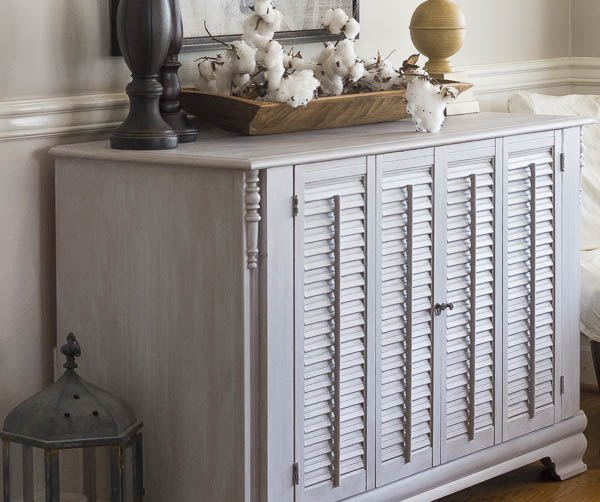 dresser makeover with shutters