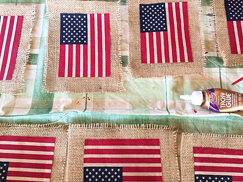 diy american flag banner with burlap