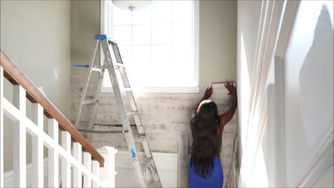 diy easy peel and stick reclaim wall