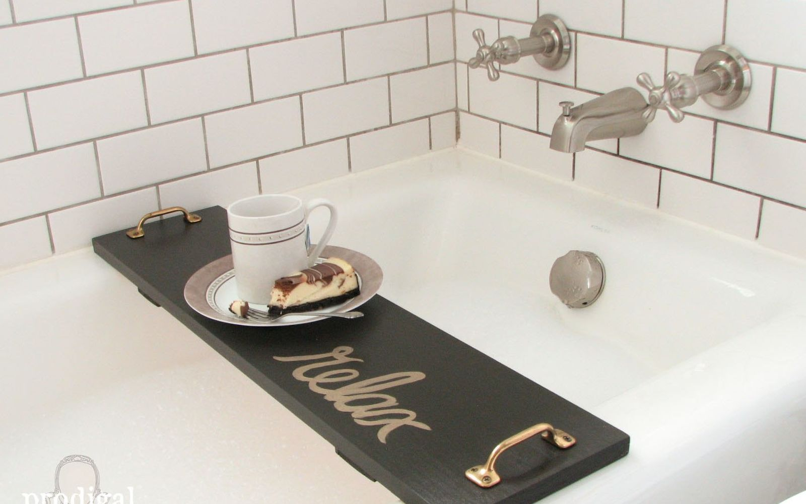 s 11 easy ways to refresh your old bathtub, Craft A Bath Tray For Reading