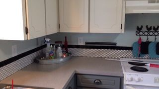 , Counters were a blue formica now after applying Daich Coatings Onyx Fog