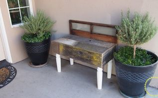 diy rustic wood and window bench