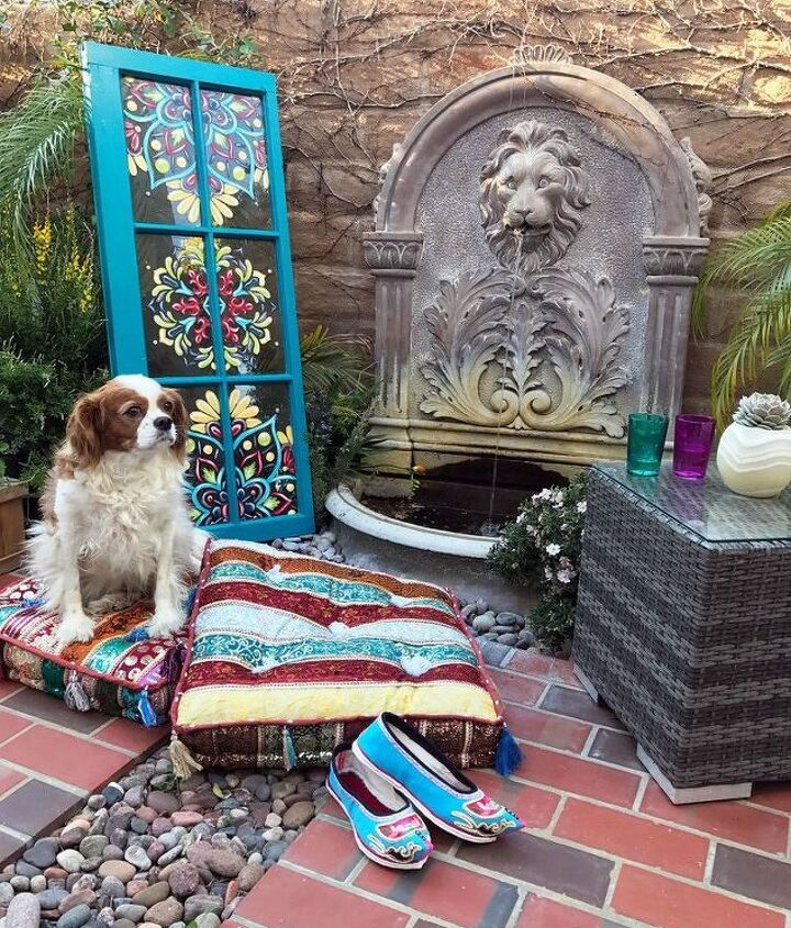 s 30 garden art ideas to fall in love with, Decorate With A Bright Colored Painted Window