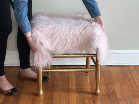 s 10 ways to repurpose unused furniture, Transform Chair To A Furry Stool