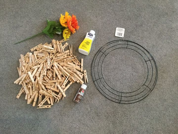 easy clothespin sunflower wreath