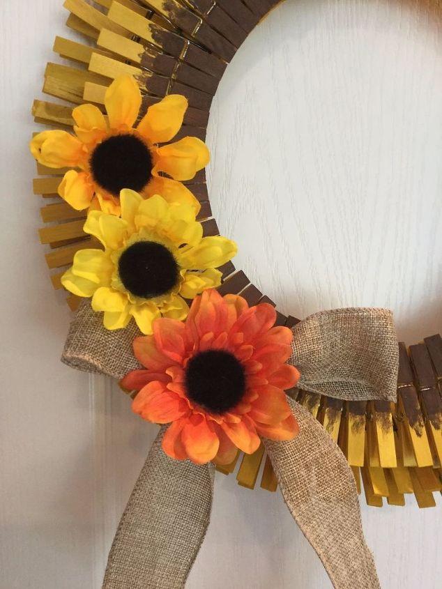 easy clothespin sunflower wreath