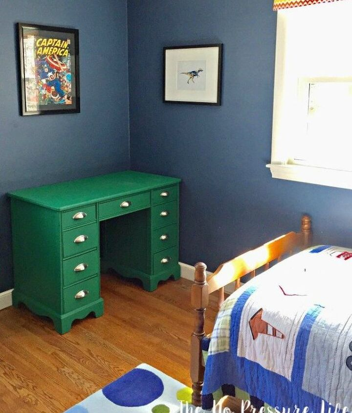 thrift store desk transformation how to go from blah to bold