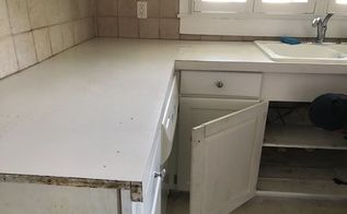 concrete counters feather finish over formica my version, Before Formica old sink