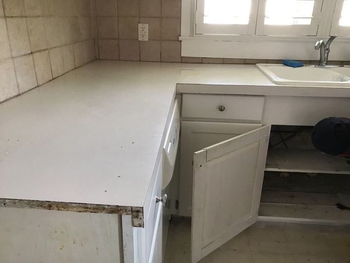 Before. Formica, old sink