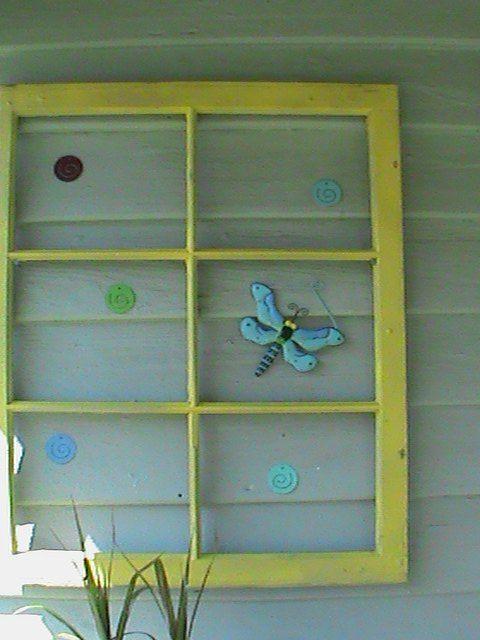 upcycle old window frame into suncatcher hanger