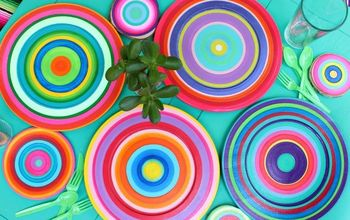 colorful summer dishes using an old turntable